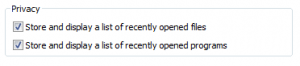 Privacy options for recently opened programs in Windows Vista.