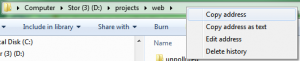 Windows 7 Address Bar (Explorer)