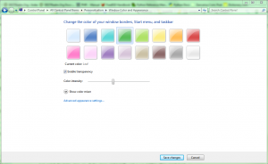 Windows 7 Display Settings: Window Color