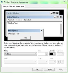 Windows 7 Advanced Apperance Settings