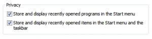 Privacy options for recently opened programs in Windows 7.