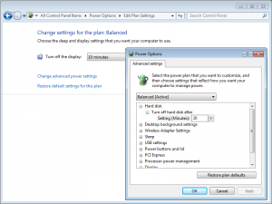 Windows 7 Power Management: Settings