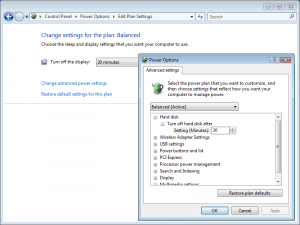 Windows Vista Power Management: Settings