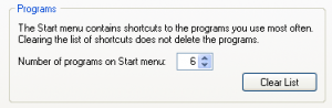 Recently launched program list: Windows XP